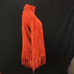 Vintage Sweaters - Vintage 90s Burnt Orange Fringe Chenille Sweater